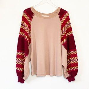 Free People patterned blouson sleeve thermal shirt